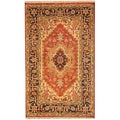 Herat Oriental Indo Hand-knotted Heriz Red/ Navy Wool Rug (3' x 5')