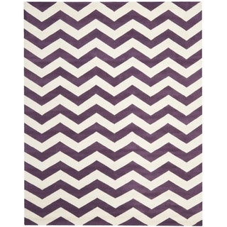 Safavieh Handmade Moroccan Chatham Chevron Purple Wool Rug (8'9 x 12')