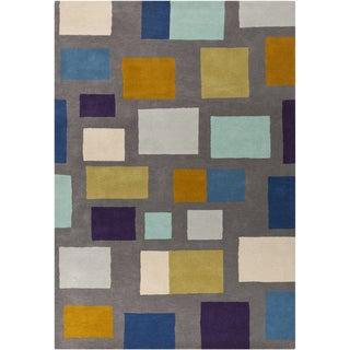 Hand-tufted Broncos Multicolored Geometric Wool Rug (8' x 11')