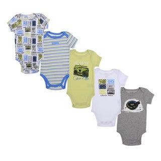Calvin Klein Newborn Boys Printed Bodysuits Set in Green/ Blue/ White (Pack of 5)