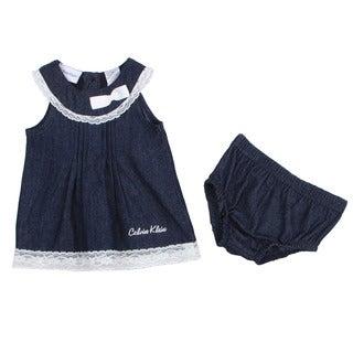 Calvin Klein Newborn Girl's Navy Dress with Matching Bottoms Set