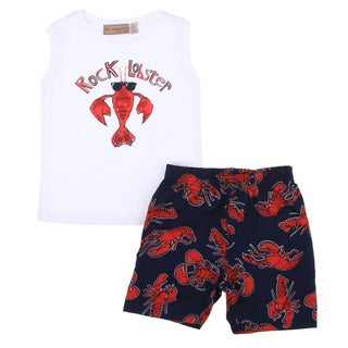 Infant Boys White Lobster Shirt/ Navy Lobster Print Short Set