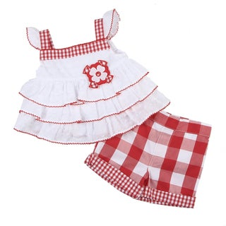 KHQ Infant Girl's White Ruffle Top with Red Check Shorts Set
