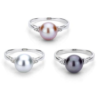 DaVonna Sterling Silver 8-9 mm Round Pearl and 1/10ct TDW Diamond Ring