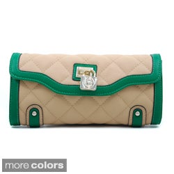 Anais Gvani Classic Quilted Two-Tone Clutch Style Wallet