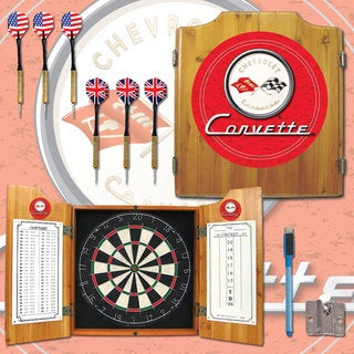 Corvette Red Dart Board Cabinet Set