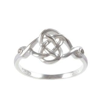La Preciosa Sterling Silver White Topaz Celtic Love Knot Ring