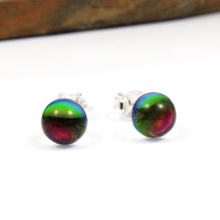 Rainbow Crystal Round Ball Sterling Silver Post Earrings (Thailand)