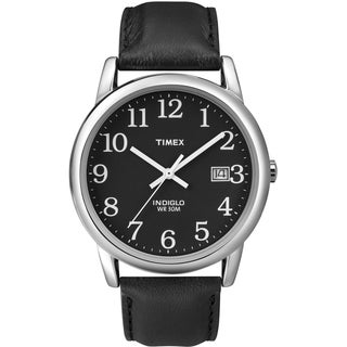 Timex Men's Easy Reader Black Leather Strap Watch