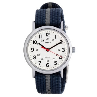 Timex Men's T2N654 Weekender Blue/ Grey Stripe Nylon Strap Watch