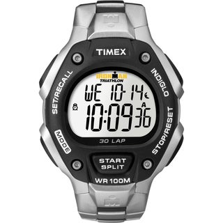 Timex Men's Ironman Traditional 30-Lap Black/ Silvertone Steel Bracelet Watch