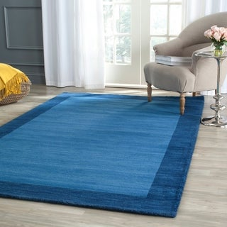 "Safavieh Handmade Himalayan Gabeh Bordered Blue Wool Rug (8'9"" x 12')"