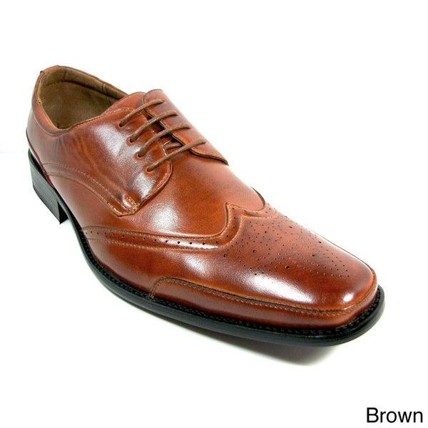 Delli Aldo Men's Wing-Tip Lace-Up Polyurethane Oxford Shoes