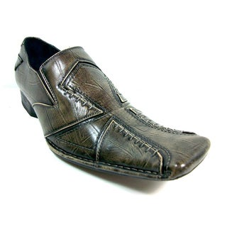 Delli Aldo Men's Distressed Slip-on Cross-stitched Loafers
