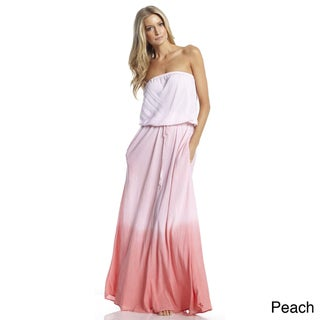 Elan Women's Ombre Dyed Strapless Maxi Dress