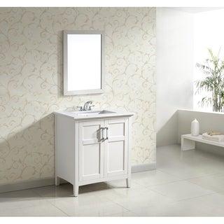 Salem White 30-inch 2-door White Quartz Marble Top Bathroom Vanity Set