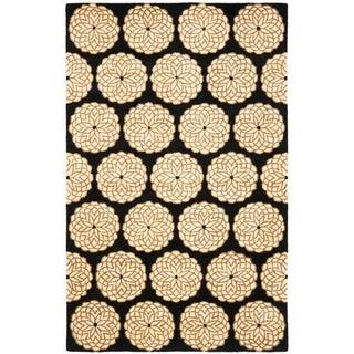 Safavieh Handmade Rodeo Drive Floral Black/ Ivory Wool Rug (8' x 11')