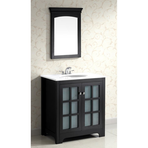 louisiana black 30 inch bath vanity with 2 doors and white