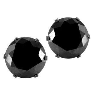 Black-plated Stainless Steel Black Cubic Zirconia Earrings