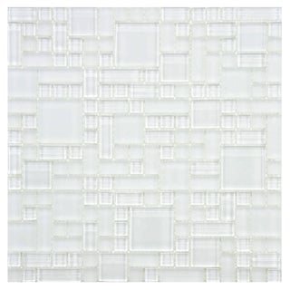 Somertile 12x12 Reflections Versailles Ice White Glass Mosaic Tiles (Pack of 10)
