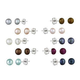 Glitzy Rocks Silver FW Pearl 10-pair Stud Earring Set (5-6 mm)