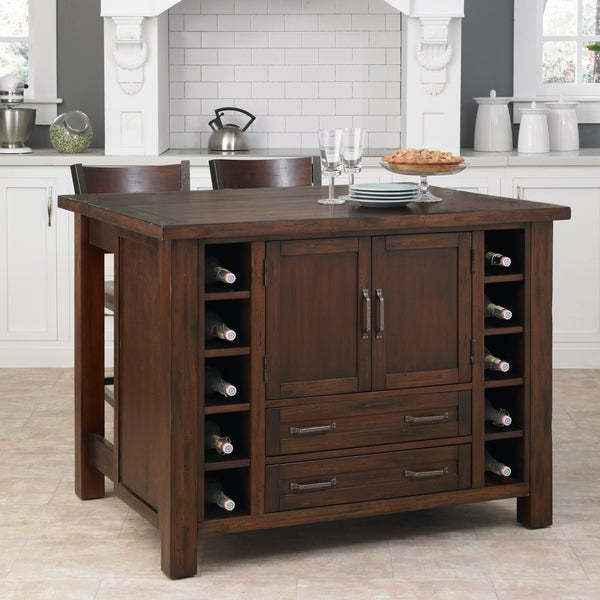 Cabin Creek Kitchen Island/ Breakfast Bar with Two Stools