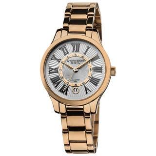 Akribos XXIV Women's Rose-Tone Stainless-Steel Diamond Bracelet Watch
