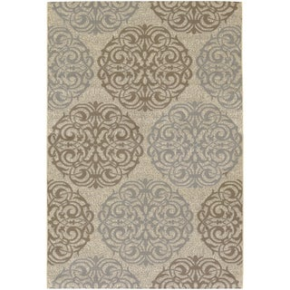 Five Seasons Montecito/ Cream-Sky Blue Area Rug (3'7 x 5'5)