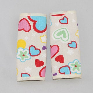 Augusta Baby Pastel Hearts Reversible Car Seat Belt Strap Cover