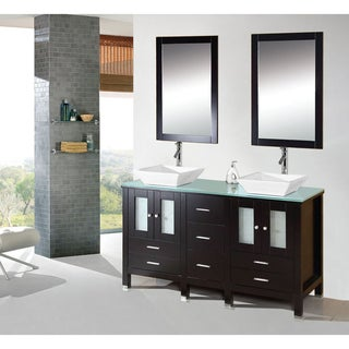 Kokols Caius Double Wood Vanity Cabinet with Glass Top and Double Ceramic Sinks & Mirror