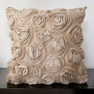 Caimile Beige Rosette 22-inch Decorative Pillow