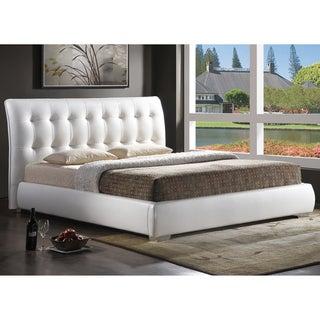 Baxton Studio Jeslyn White Tufted Headboard Modern Bed