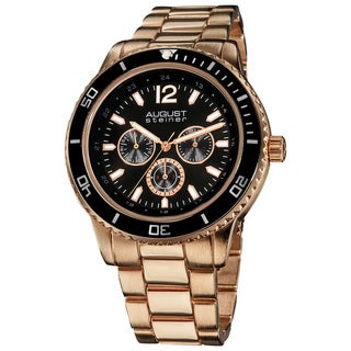 August Steiner Men's Goldtone Quartz Multifunction Divers Bracelet Watch