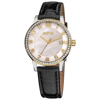 August Steiner Women's Swiss Quartz Mother of Pearl Crystal Strap Watch with Gold-Tone Hands
