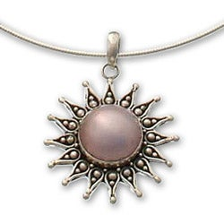 Sterling Silver 'Pink Sun' Cultured Pearl Necklace (15 mm) (Indonesia)