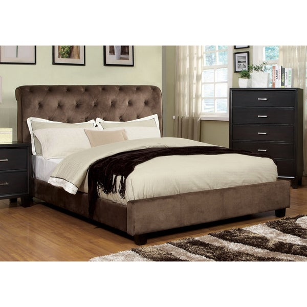 Furniture of America Yani Tufted Modern Dark Brown Velvet Queen Platform Bed