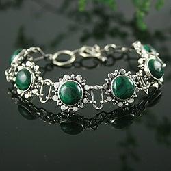 Sterling Silver 'Mystical Blooms' Malachite Bracelet (India)