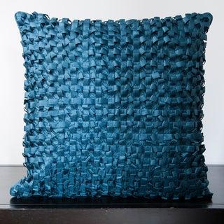 Jocelyn Slate Blue Ribbon Textured 18x18-inch Decorative Down Pillow