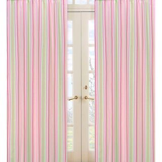 Pink and Green Stripe 84-inch Curtain Panel Pair