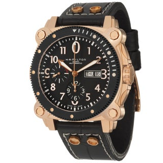Hamilton Men's 'Khaki Navy' Rose-goldplated Steel Chronograph Watch
