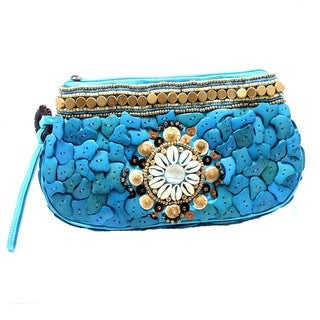 Unique Natural Shells and Wood Medley Wristlet Clutch (Philippines)