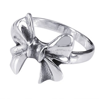 Sterling Silver Cute Bow Tie Ribbon Ring (Thailand)