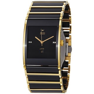 Rado Men's R20847702 'Integral' Black Dial Ceramic Goldtone Automatic Watch