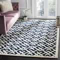 Handmade Moroccan Dark Blue Wool Rug (6&#39; x 9&#39;)