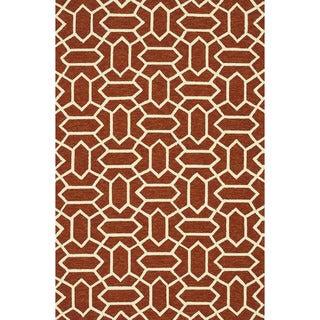 Hand-hooked Indoor/ Outdoor Capri Rust Rug (3'6 x 5'6)