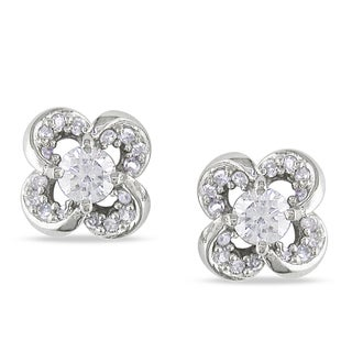 Miadora 14k White Gold 1/3ct TDW Diamond Flower Earrings (G-H, SI1-SI2)