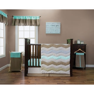 Trend Lab Cocoa Mint Collection 5-piece Crib Bedding Set