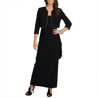 R & M Richards Women's Black Rhinestone Trimmed Jacket and Dress Set