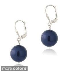 Glitzy Rocks Sterling Silver Faux Pearl Leverback Earrings
