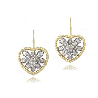 DB Designs 18k Gold over Silver 1/10ct TDW Diamond Heart Earrings (J,I3)